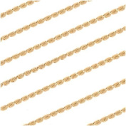 22K Gold Plated Sleek Beading Chain .7mm Bulk By The Foot