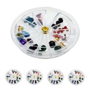 4pc 12-Compartment Revolving Storage Box - Organisation Tray for Beads, Jewellery