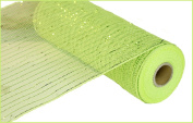 25cm x 10 yards (9.1m) Deco Poly Mesh Ribbon - Apple Lime Green with Lime Foil