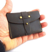 Genuine Vintage Leather Handmade Mini Wallet Money Id Credit Cards Holder Compact Retro