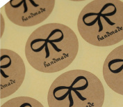 30mm Vintage Handmade Round Bow Pattern Kraft Paper Seal Label Sticker for Gift Packing Wedding Favour Tag Topper