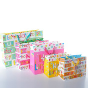 5-Pack High Quality Birthday Gift Bags with Ribbon Handle (1 Large, 2 Medium, 2 Small), by Lynnwang Design