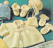 Vintage Crochet PATTERN to make - Baby Sweater Bonnet Booties Set. NOT a finished item. This is a pattern and/or instructions to make the item only.