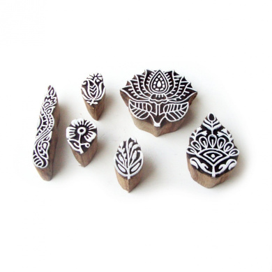 Lotus & Floral Designs Mix Hand Carved Wooden Blocks Tags (Set of 6)