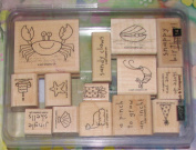 Stampin Up Crab and Company Rubber Stamps Set of 14