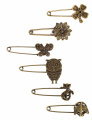 6pcs Different Pattern Bronze Vintage Hijab Pins, Brooch Pins, Safety Pins