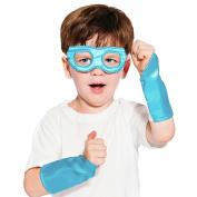 Light Blue Superhero Eye Mask and Powerbands - Kids
