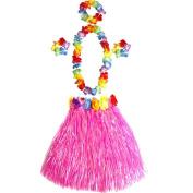 Girl's Elastic Hawaiian Hula Dancer Grass Skirt with Flower Costume Set -Pink