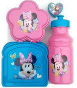 Minnie Mouse Lunch Set 3 piece-sandwich Box, Pull Top Bottle, Snack Container and One Frozen Pencil Sharpener)