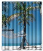 BravoVision Custom Summer Beach Blue Sea Palm Tree Sunshine Mildew-Resistant Antibacterial Waterproof Shower Curtain 150cm x 180cm