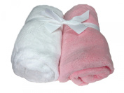 Cosy Fleece Microplush Fitted Crib Sheet, Pink/White
