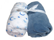 Cosy Fleece Microplush Crib Sheets, Blue/White with Moon and Stars
