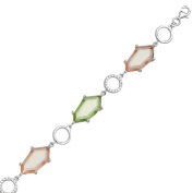 Sterling Silver Champagne and Light Green CZ Link Womens Bracelet