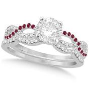 Women's Infinity Twisted Round Diamond Ruby Bridal Set 14k White Gold