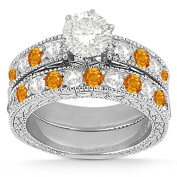 Antique Band Bridal Set Diamond and Citrine Engagement Ring and Band 18k White Gold