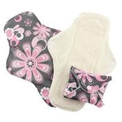 Pink Daisy Organic Cotton Washable Feminine Menstrual Pads - 3 Pack