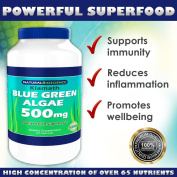 Klamath Blue - Green Algae - 500mg - Nutrient Rich Superfood - Contains High Concentrations of Vitamins, Trace Minerals, Enzymes, Amino Acids and EFAs - 60 capsules