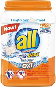 All Mighty Pacs Laundry Detergent, Free Clear OXI, Tub, 56 Count