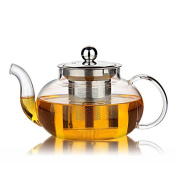 Hiware Good Glass Teapot with Stainless Steel Infuser & Lid, Heat Resistant Tea Pot, 27 Ounce / 800 ml, Clear Glass