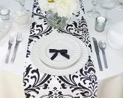 White and Black Damask Table Runner
