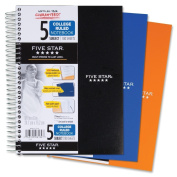 Five Star Spiral Notebook, College Ruled, 5 Subject, 15cm x 24cm , 180 Sheets, Assorted Colours (06184)Pack Of 2
