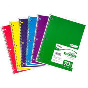 Mead Spiral 1-Subject Wide-Ruled Notebook, Colour May Vary, Assorted Colours (05510) 6 Notebooks