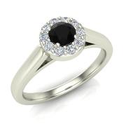 1/3 ct tw Black & White Round Diamond Halo Promise Ring 14K Gold