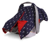 Carrier Cover for Infant Car Seat By Kids N' Such | Navy Anchor Print with Red Minky Inside | Protects Babies From the Elements with Breathable Year-round Fabric | Attaches to Baby Carrier Via Velcro Straps | Many Fashionable Designs to Compliment Any ..