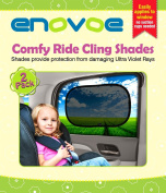 Car Sun Shade (2 Pack) - Premium Baby Car Window Shades are best for blocking over 97% of Harmful UV Rays and protecting your child from sunlight and glare - Static Cling Car Sunshades easily apply without jumbo suction cups and fit most vehicles - Com ..