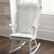 French Grey and Pink Damask Rocking Chair Pad