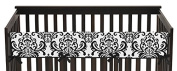 Long Front Rail Guard Baby Girl Teething Cover Protector Crib Wrap for Hot Pink, Black and White Isabella Collection