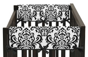 Side Rail Guards Teething Protector Baby Girl Crib Cover Wrap for Black and White Isabella Collection - Set of 2