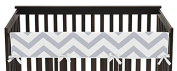 Grey and White Chevron Zig Zag Long Front Rail Guard Baby Boy or Girl Teething Cover Protector Unisex Crib Wrap