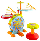 WolVol Kids Fun Electronic Drum Set with Adjustable Sing-along Microphone and Sitting Stool - Tonnes of different functions, Bass Drum and Pedal