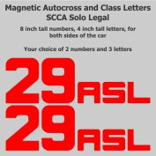 SCCA - NASA - Track Day - 20cm Autocross Magnetic Number Package with Class Letters, Red, Block Font