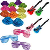 Rock Star Party Favour Pack Includes Hats, Glasses, and Inflatable Instruments for 12 Guests