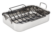 Anolon Tri-Ply Clad Stainless Steel 43cm by 32cm Large Rectangular Roaster with Nonstick Rack