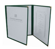 Menu Cover, 20cm - 1.3cm X 28cm , Fold-Out, Triple Pocket, 6-View, Plastic Laminate Folder, Black Trimming