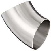 Dixon B2WK-R300P Stainless Steel 316L Sanitary Fitting, 45 Degree Polished Weld Short Elbow, 7.6cm Tube OD