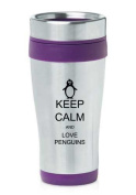 Purple 470ml Insulated Stainless Steel Travel Mug Z447 Keep Calm and Love Penguins
