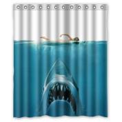 Hidden Risk Jaw White Shark Waterproof Polyester Fabric Bathroom Shower Curtain with 12 Hooks 150cm (w) x 180cm (h)- Bathroom Decor