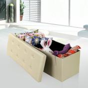 "Songmics Faux Leather Folding Storage Ottoman Bench Foot Rest Stool Seat Footrest Beige 110cm x 38cm x 15"" ULSF70M"