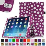 Fintie Apple iPad Air Folio Case - Slim Fit PU Leather Smart Stand Protective Cover with Auto Sleep / Wake Feature for iPad Air 2013 Model, Polka Dot Purple/White