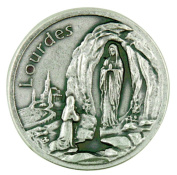 The Blessed Virgin Mary Our Lady of Lourdes Pocket Token with Prayer Back