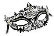 Jacqueline Laser-Cut Metal Black Venetian Masquerade Mask for Women w/ Crystals