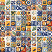 100 Hand Painted Talavera Mexican Tiles 10cm x 10cm Spanish Influence