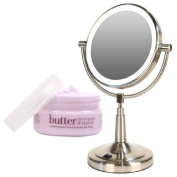 Zadro LEDV45 Battery Powered LED Lighted Vanity Mirror and Cuccio Body Butter Kit