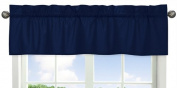 Solid Navy Blue Window Treatment Valance for Stripes Bedding Collection