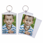 6.4cm x 8.9cm Jumbo Acrylic Snap-In Photo Keychains - Pack of 36