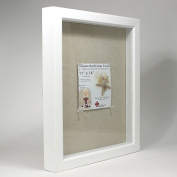Lawrence Frames 168111 Shadow Box Frame With Linen Inner Display Board - White, 0. 200cm